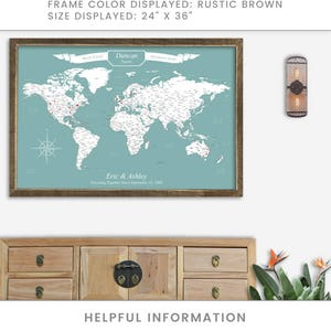 Framed travel map etsy push pin map framed travel map of the world map detailed push pin travel map with gumiabroncs Gallery