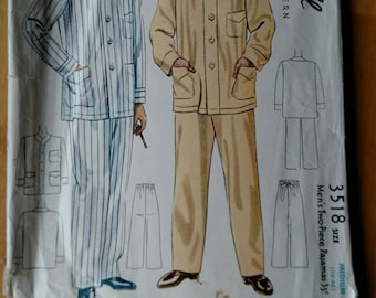 1939 McCall's 3518 Men's Pajamas Medium Chest Size 38-40 Vintage Sewing Pattern
