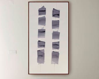 Blocks suspended III- Abstract ink color painting- large wall art, art, minimalist abstract ink art painting, modern art, ink art, large art