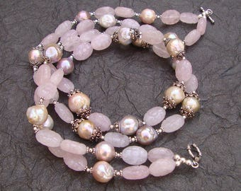 Lovely Rose Quartz Or Pearl Beads 925 Sterling Silver Handmade Women's Fashion Necklace For GIFT