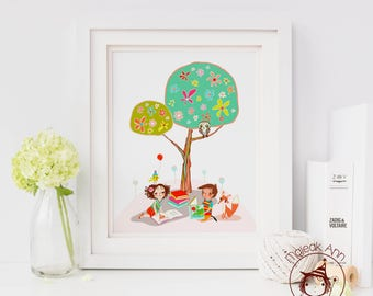 Reading with friends - Nursery Decor wall art - whimsical wall art -baby wall art - tree and children - fox boy and girl reading