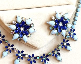 Vintage Weiss Blue Necklace and Earring Set, Blue Milk Glass, Dark Blue Enamel and AB Rhinestones Jewelry Set, Signed
