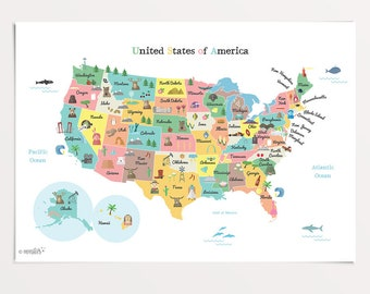 Printable kids world map poster a3 11x14 in 24x36 in printable united states of america map usa map 20x16 in 20x30 in 24x36 gumiabroncs Images