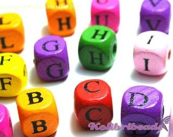 100x Mixed Wooden Alphabet Beads, A- Z Letter Cubes 10mm - Mixed Colours