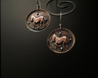E1514 -SALE 25% off -Prancing Ponies on Copper earrings