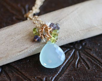 Seafoam Chalcedony Necklace, Gemstone Cluster Necklace with Peridot, Aquamarine and Iolite, Blue Green Wire Wrapped Chalcedony