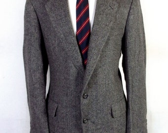 euc Redwood & Ross Gray 100% Wool Tweed Herringbone Sportcoat Blazer sz 44 L
