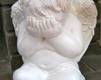 Angel Statue, Peek A Boo White Concrete Garden Statues, Large Painted Cement Cherub Figure