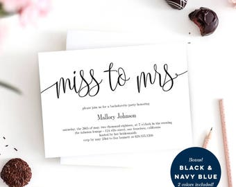Miss to Mrs Bachelorette Party or Bridal Shower Invitation Template - Printable Invitation Instant Download - Lovely Calligraphy #LCC