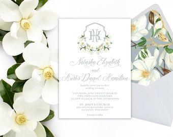 Dusty Blue Magnolia Watercolor Wedding Invitation Suite - Monogram - Crest - Shield - Blue Magnolia Suite
