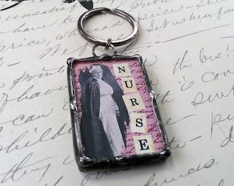 Soudé Art charme, porte-clés, Image bain beauté Vintage, citation charme, pendentif en verre, porte-clés, fabriqué sur commande