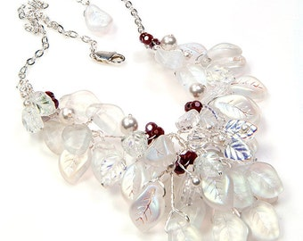 Red White Bib Necklace,  White Floral Jewelry, White Bridal Necklace,  Beaded Necklace, White Leaf Necklace