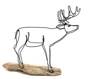 Deer Wire Sculpture, Deer Wire Art, Trophy Buck Wire Sculpture, 561091182
