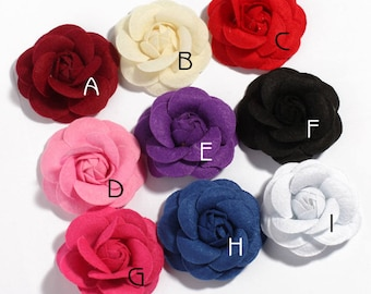 9colors 6.5cm Rolled Petal Rose Hair Flowers for Hair Clips Nonwovens Fabric Flowers with leaves For Hair Accessories For baby Headbands