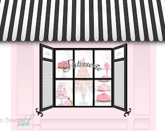 French Macaron Parisian Printable Party Backdrop Pink and Black - You print