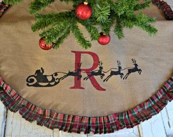 CHRISTMAS Tree Skirt, Christmas plaid, Personalized Tree Skirt, Burlap Christmas Tree Rustic Christmas- monogram