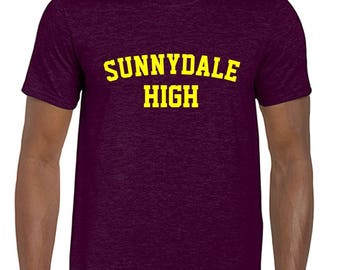 Maroon/Burgundy Sunnydale High School Buffy Style SHS Adult Unisex Tshirt With Print on Front Only