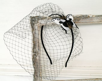 Black headband with netting Black white head piece Birdcage veil Butterfly headband Black fascinator Style hair accessory Birdcage netting