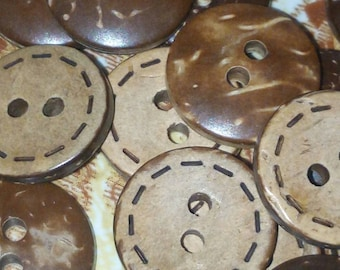 set of 10 buttons coconut round Brown 14 mm sewing scrapbooking