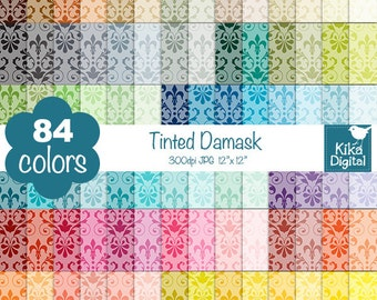 Tinted Damask Digital Papers - Rainbow Damask Papers - Damask Scrapbook Papers - Huge Paper Pack- Instant Download