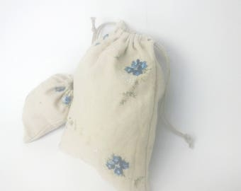 Small linen gift bags - Set of 10 custom size fabric bags - Embroidered linen and burlap gift drawstring bags for jewelry, gifts etc...