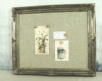 Framed magnetic board - shabby chic - bulletin board - distressed finish