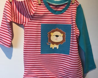 Girl Stripe-shirt with different color sleeve and print, MT 90 and 96