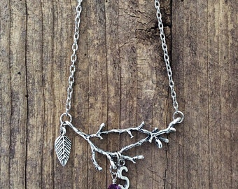 Twig necklace, silver branch necklace, amethyst birthstone, Mother's Day gift, February birthday gift, Aquarius sign, personalized jewelry