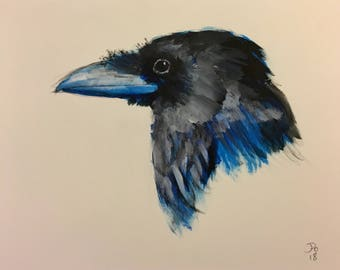 Head of raven painting, original, hand painted