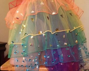 Rainbow Diamond Fantasy TuTu Skirt Bustle (EDC, Rave, Fitness, Festival Clothing, NPC, Dance, Party, Burlesque, Clubwear)