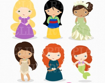 Princess Digital Clipart /  Little Princess Clip Art / Princess Clipart For Personal and Commercial Use/ INSTANT DOWNLOAD