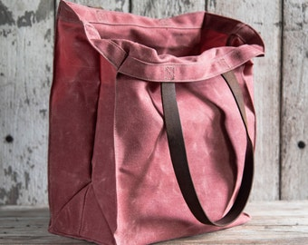 Waxed Canvas Marlowe Carryall in Radish, Tote Bag, Wax Canvas Bag, Canvas Handbag, Waxed Canvas Market Tote, Farmers Market, Everyday Carry