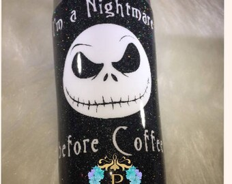nightmare before christmas/coffee lover/glitter tumbler/glitter yeti/jack skellington/personalized gift/valentines gift