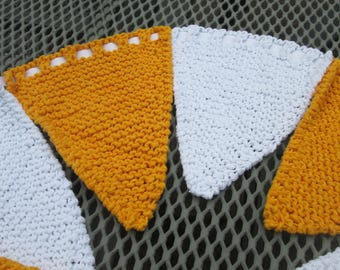Hand knitted bunting in yellow and white