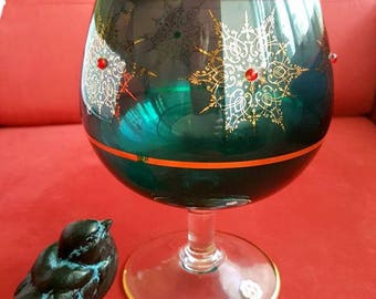Italian glass vase gilded jewelled