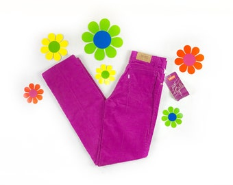 DEADSTOCK vintage Levi's corduroy pants 1981, purple Levi's jeans, 1980s NOS Levi's white tab plum straight leg pants, 80s Levi's, 26x31