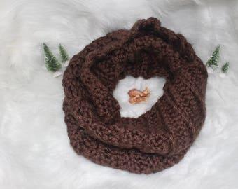 Outlander Cowl, Brown Crochet Outlander Cowl, Brown Crochet Super Chunky Cowl, Outlander Infinity Scarf