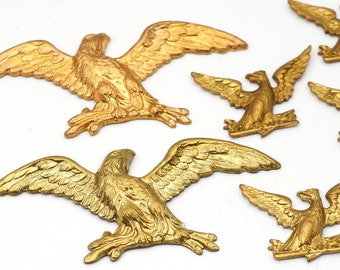 6 pcs vintage brass eagle stampings, wings outstretched, branches in talons, two sizes 50mm and 22mm