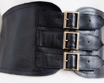 Black Corset Leather Three Buckle Belt | Black Wide Waist Belt | Corset Wide Belt | Leather Buckle Belt | Buckle Belt | Plus Size