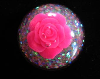 Large glitter Fuchsia flower cabochon ring