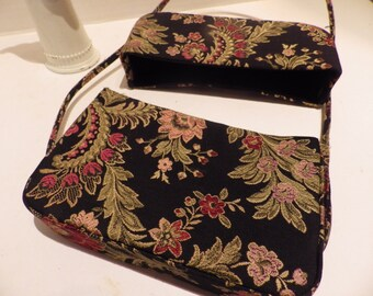 1950s Lewis Floral Tapestry Handbag 2-Part Shoulder Bag Unique Black Green Red Pink