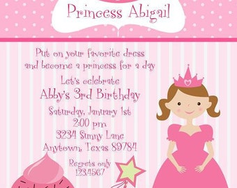 Princess Cupcake Birthday Party Invitations