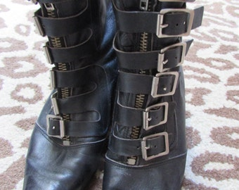Vintage 80s Gothic Pike Buckle Boots