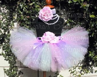 Easter Tutu, Pink Green Lavender Girls Birthday Tutu, Spring Pastels, Custom Sewn Tutu and Headband Set, Easter Photo Prop Tutu Skirt