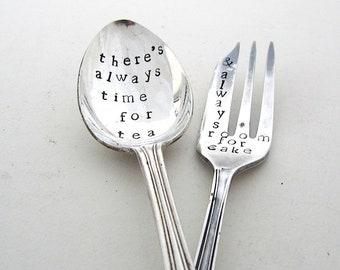 Time for Tea, Room for Cake, Teaspoon and Cakefork, Handstamped Mismatched Cutlery Set, Hand Stamped Vintage Tea Spoon and Cake Fork