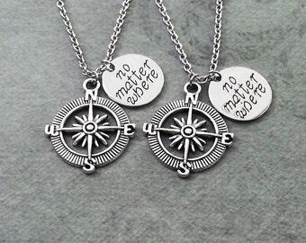 Compass Necklace SET of 2 Best Friend Necklaces No Matter Where Best Friend Necklace Long Distance Relationship Gift Boyfriend Girlfriend