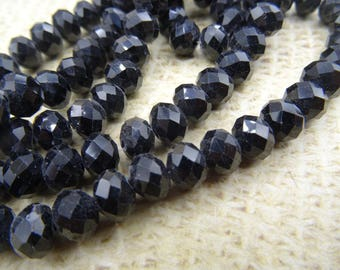 30 8mm faceted black Czech glass beads