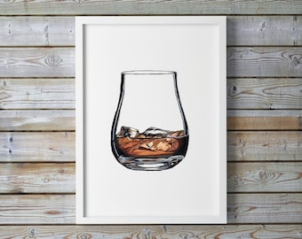 Whisky Illustration Print, Giclee Print, Kitchen Decor, Food Wall Art, Watercolor painting print, Food Illustration. Drink