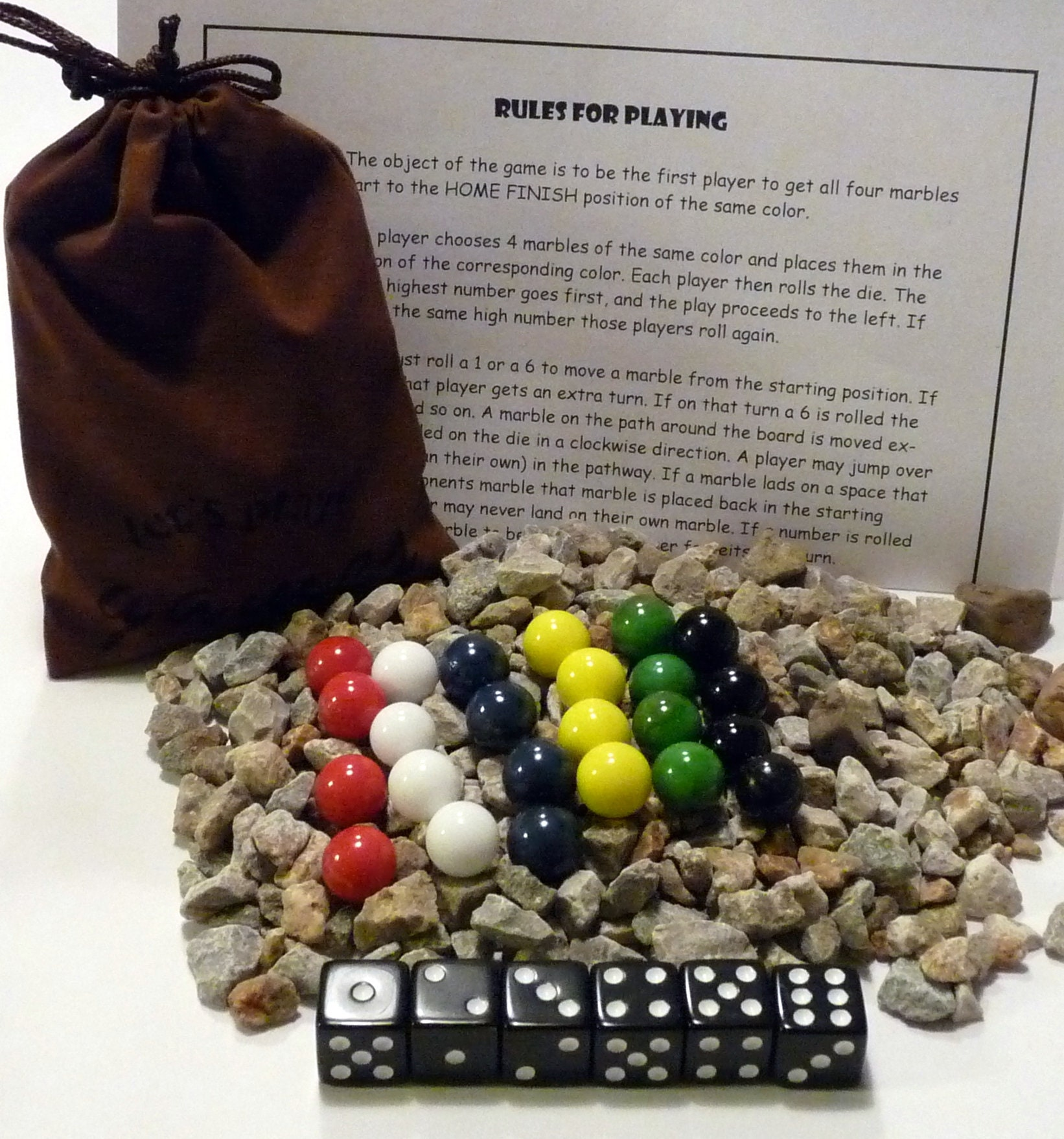 Aggravation Marbles Dice Game Bag