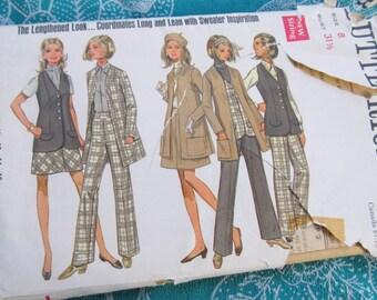 vintage pattern BUTTERICK 5354 Misses PANTSUIT  button-up  (size 8) --1968
